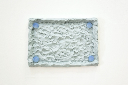 35 - Agnes Calf, Rotation (Earplugs-Blue), 2013, Clay, Acrylic Paint, Varnish, Silicone Earplugs, 17 x 24 x 2.5cm copy