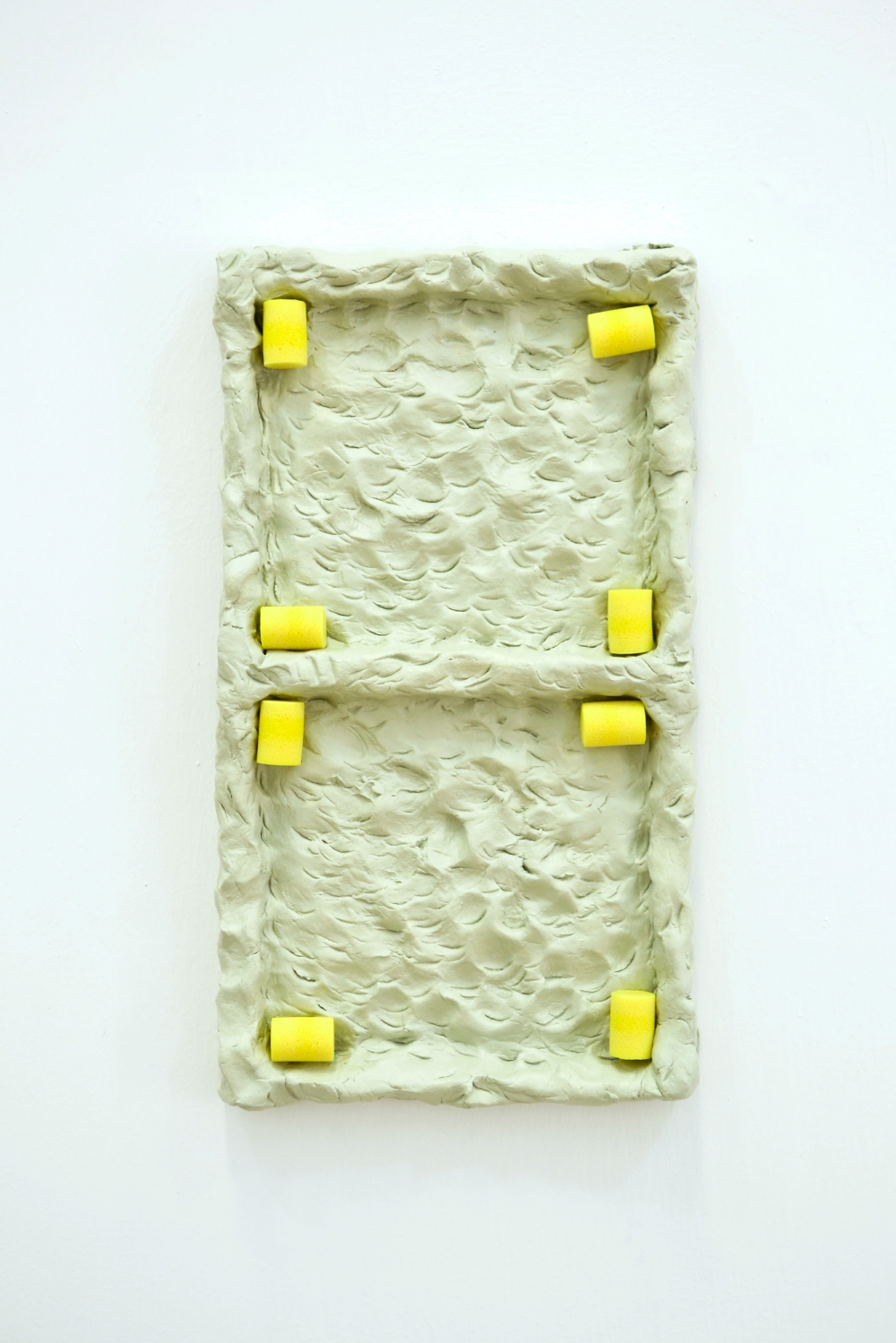 43 - Agnes Calf, Double Rotation (Earplugs), 2013, Clay, Acrylic Paint, Varnish, Foam Earplugs, 15 x 27 x 2.5cm copy