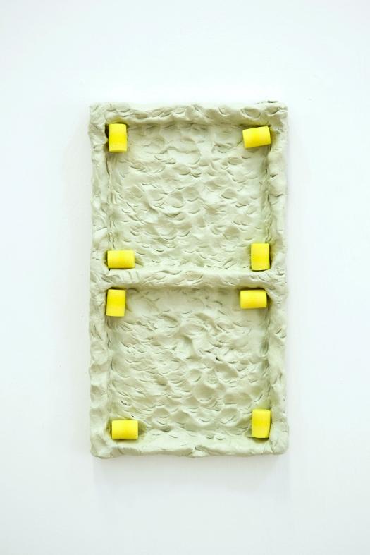 43 - Agnes Calf, Double Rotation (Earplugs), 2013, Clay, Acrylic Paint, Varnish, Foam Earplugs, 15 x 27 x 2.5cm copy